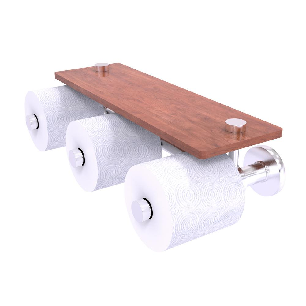 Allied Brass Prestige Skyline Collection Horizontal Reserve 3 Roll Toilet Paper Holder With Wood Shelf In Satin Chrome P1000 35 3s Irw Sch The Home Depot