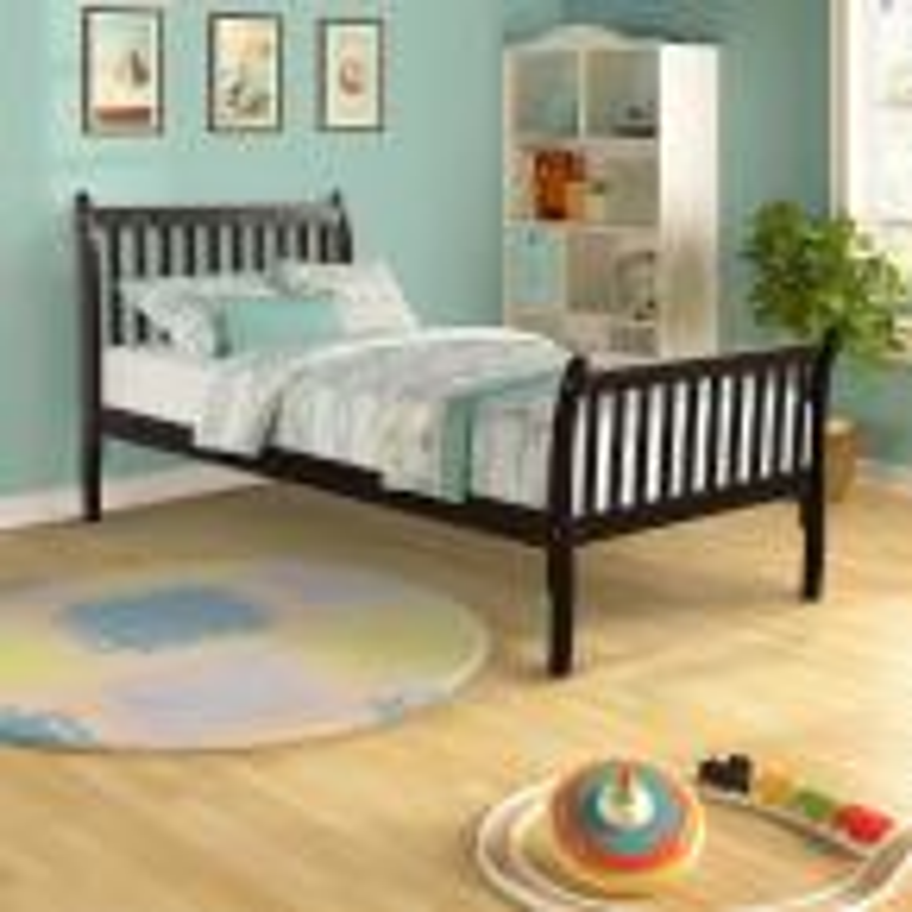 Espresso Modern Farmhouse Style Pine Wood Twin Size Bed
