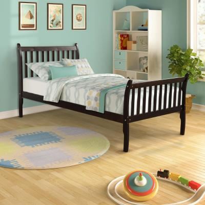 Espresso Modern Farmhouse Style Pine Wood Twin Size Bed
