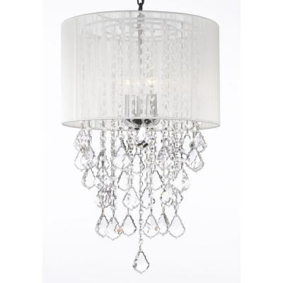 Spectra Swarovski Crystal Trimmed 3-Light Chandelier with White Shade