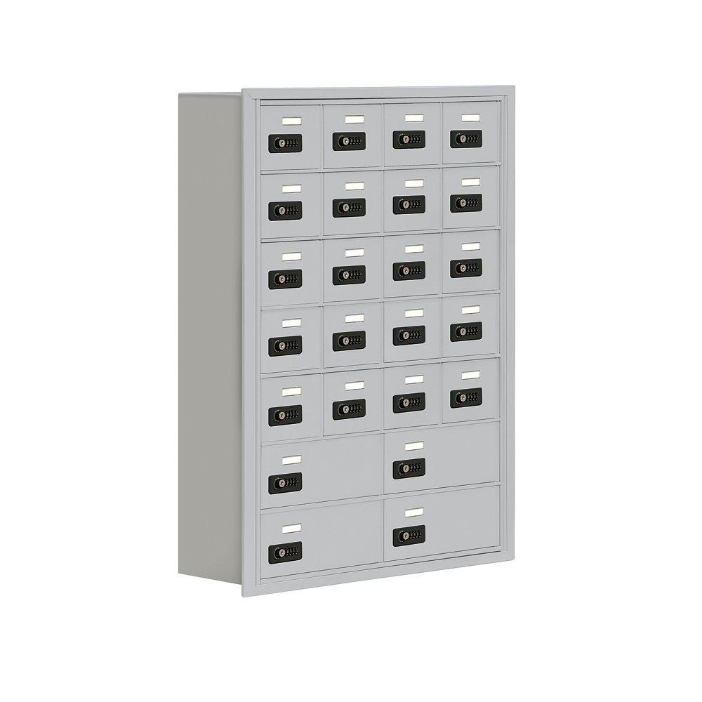 Salsbury Industries 19000 Series 30.5 in. W x 42 in. H x 8.75 in. D 20 A/4 B Doors R-Mounted Resettable Locks Cell Phone Locker in Aluminum