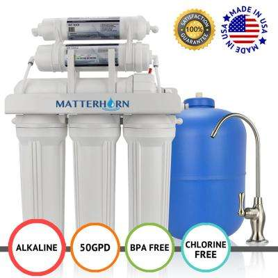 6 Stage 50 GPD -Superior Reverse Osmosis pH+ Alkaline Mineral Under the Sink Water Filter System