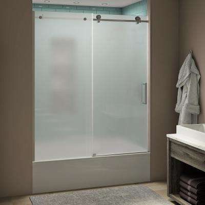 Coraline xL 56 - 60 in. x 70 in. Frameless Sliding Tub Door with Ultra-Bright Frosted Glass in Stainless Steel