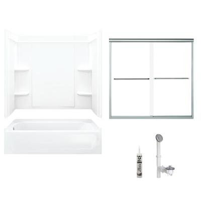 Ensemble 30 in. x 60 in. x 71 in. Bath and Shower Kit with Left-Hand Drain in White and Chrome