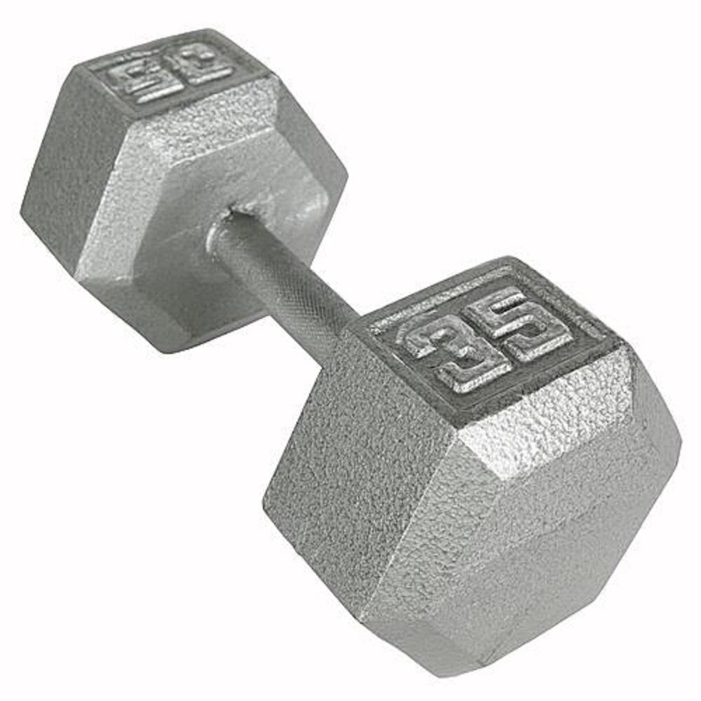 Hex Dumbbell 35 Lb. Knurled Grip Non-Slip Cast Iron Construction Gym Easy-to-use