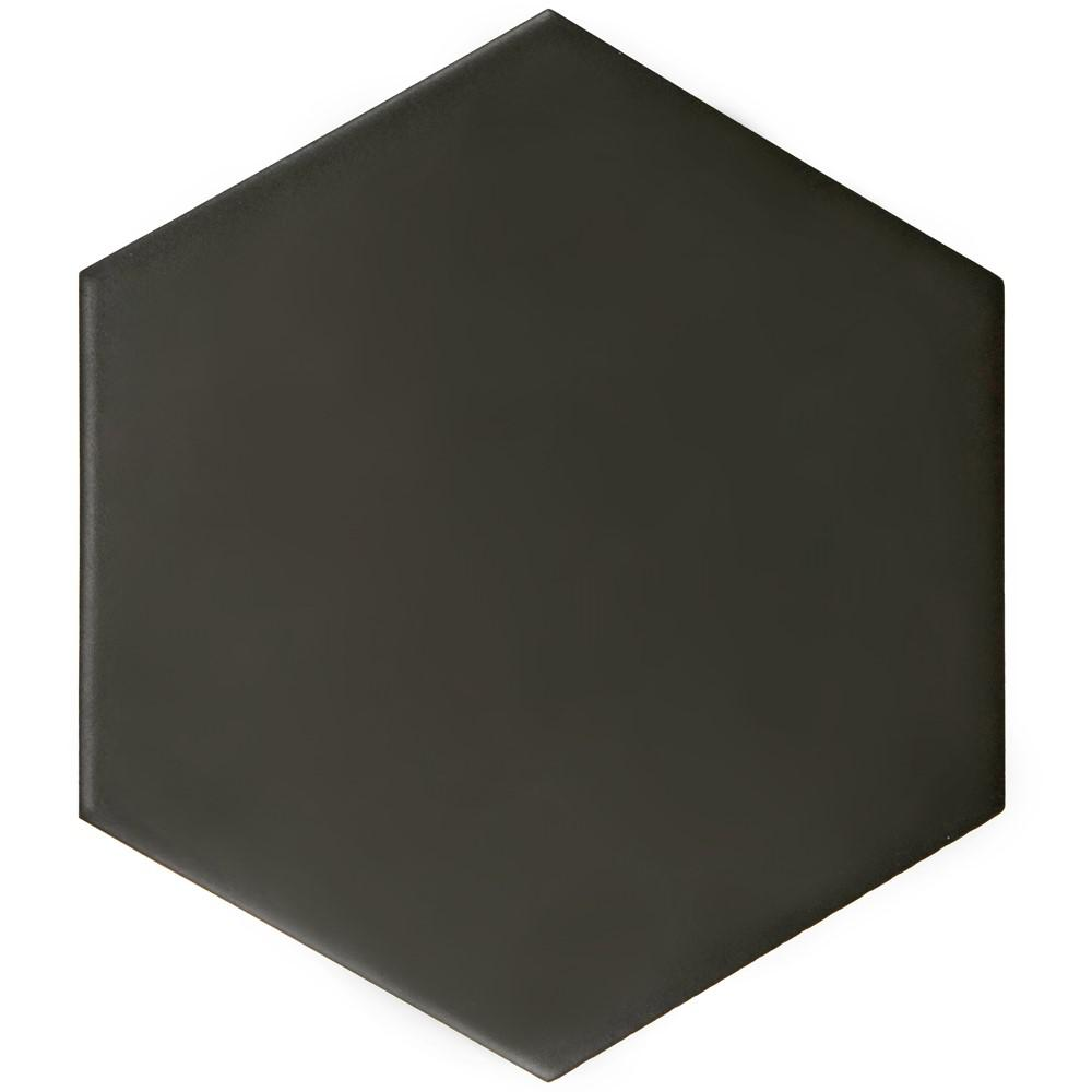 Black porcelain tile tile the home depot hexatile matte nero 7 in x 8 in porcelain floor and wall tile dailygadgetfo Image collections