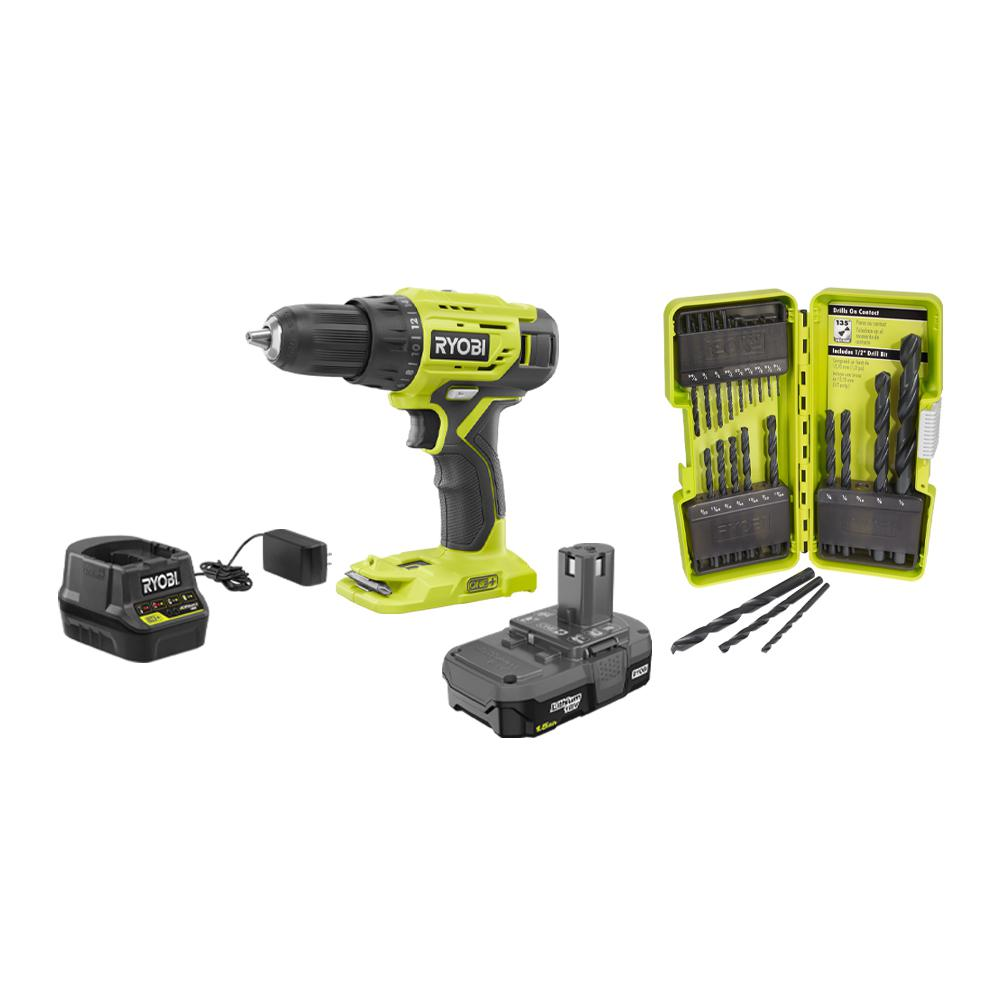 RYOBI 18-Volt Cordless ONE+ 1/2in Drill/Driver Kit w/(1) 1.5 Ah Battery and Charger and Black Oxide Drill Bit Set (21-Piece)