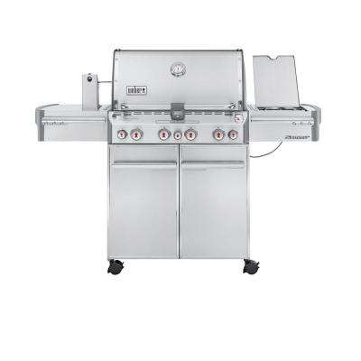 Summit S-470 4-Burner Propane Gas Grill in Stainless Steel with Built-In Thermometer and Rotisserie