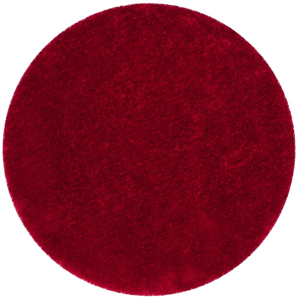 Luxe Shag Red 6 ft. x 6 ft. Round Area Rug