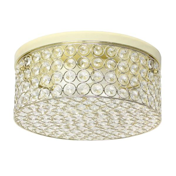 12 in. 2-Light Gold Round Ceiling Flush Mount