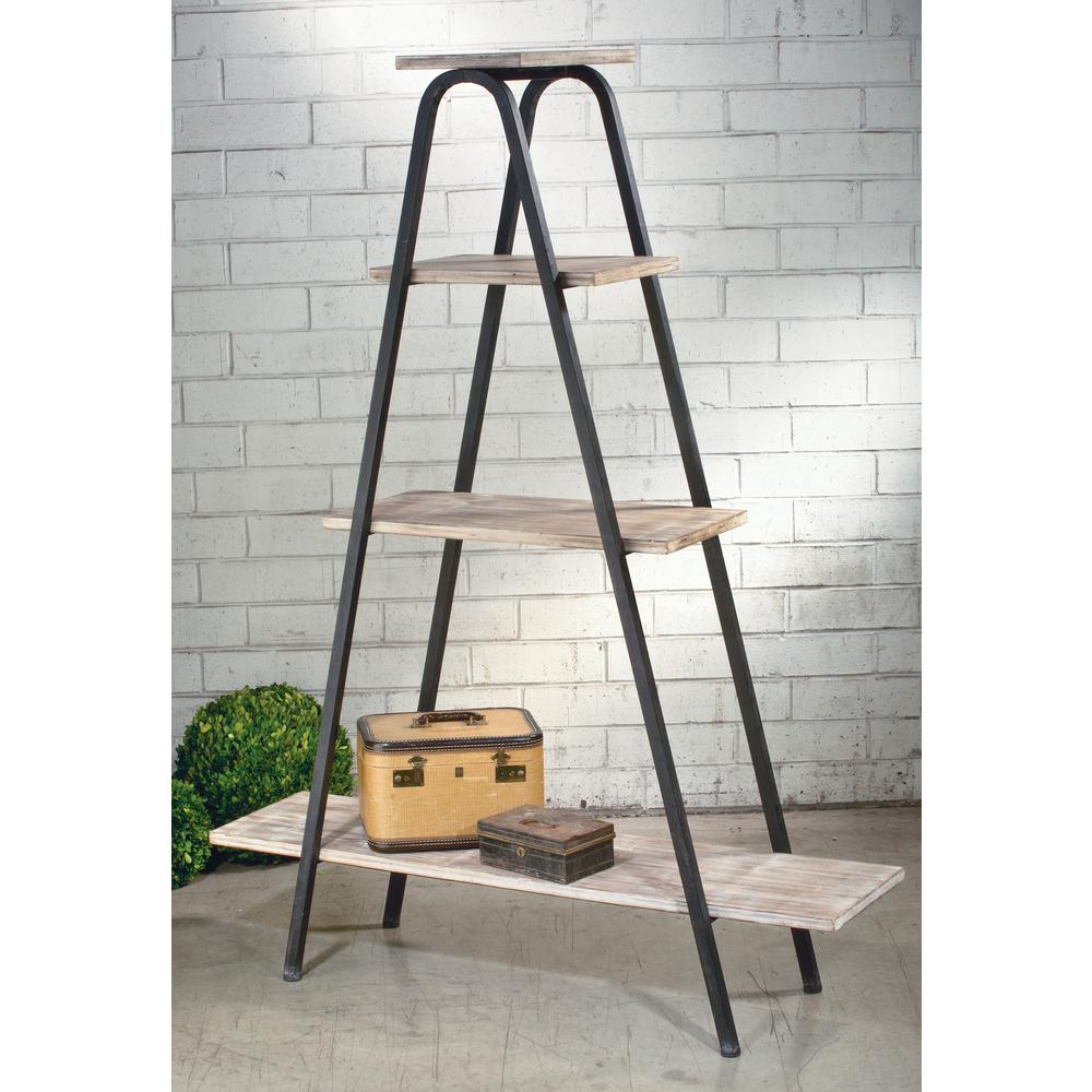 Natural White Washed and Black Wood A-Frame Etagere Open Bookcase