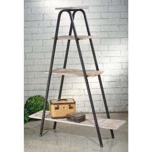 Natural White Washed and Black Wood A-Frame Etagere Open Bookcase by