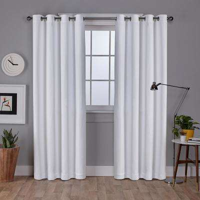 Vesta 52 in. W x 96 in. L Woven Blackout Grommet Top Curtain Panel in Winter White (2 Panels)