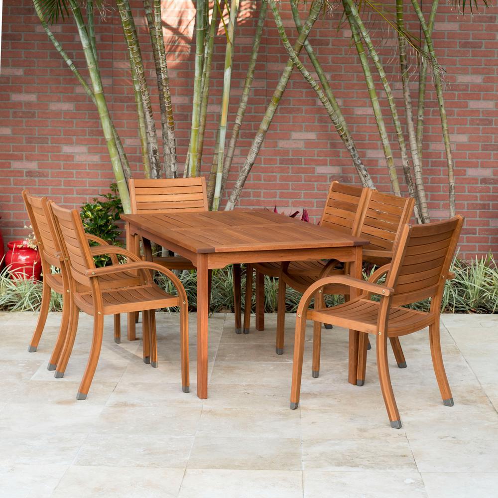 Amazonia Arizona Eucalyptus Wood 7 Piece Rectangular Patio Dining Set Sc 361 6cata The Home Depot