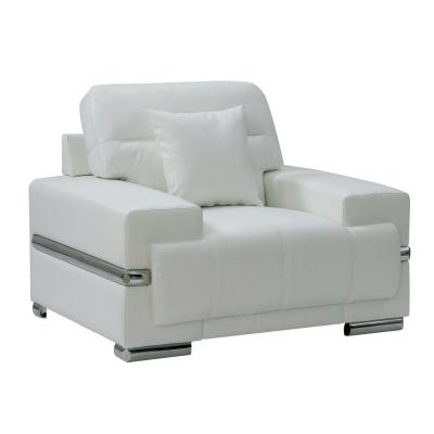 Zibak White and Chrome Contemporary Style Living Room Chair