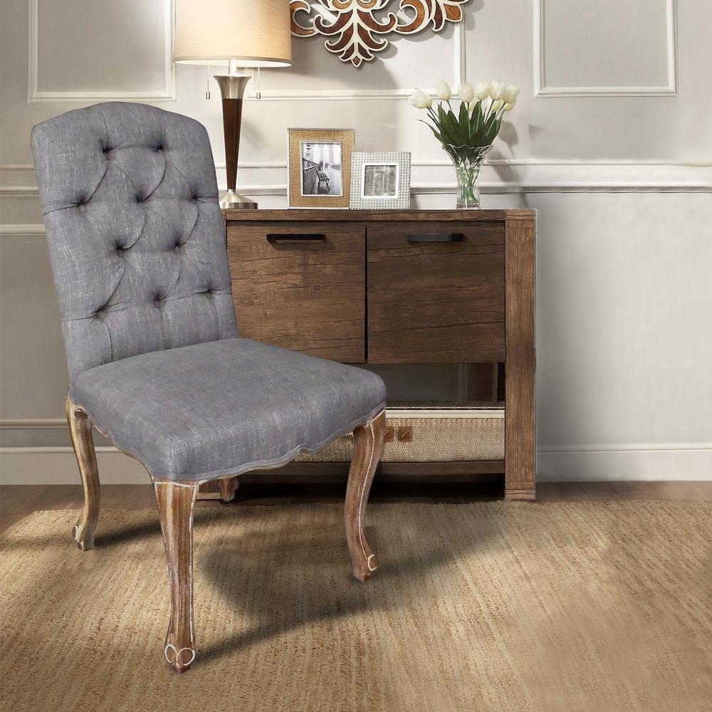 Kerri grey linen dining chair set of 2