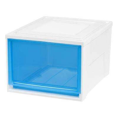 15.75 in. x 11.5 in. Deep Box Chest Drawer, White with Blue Drawers (3-Pack)