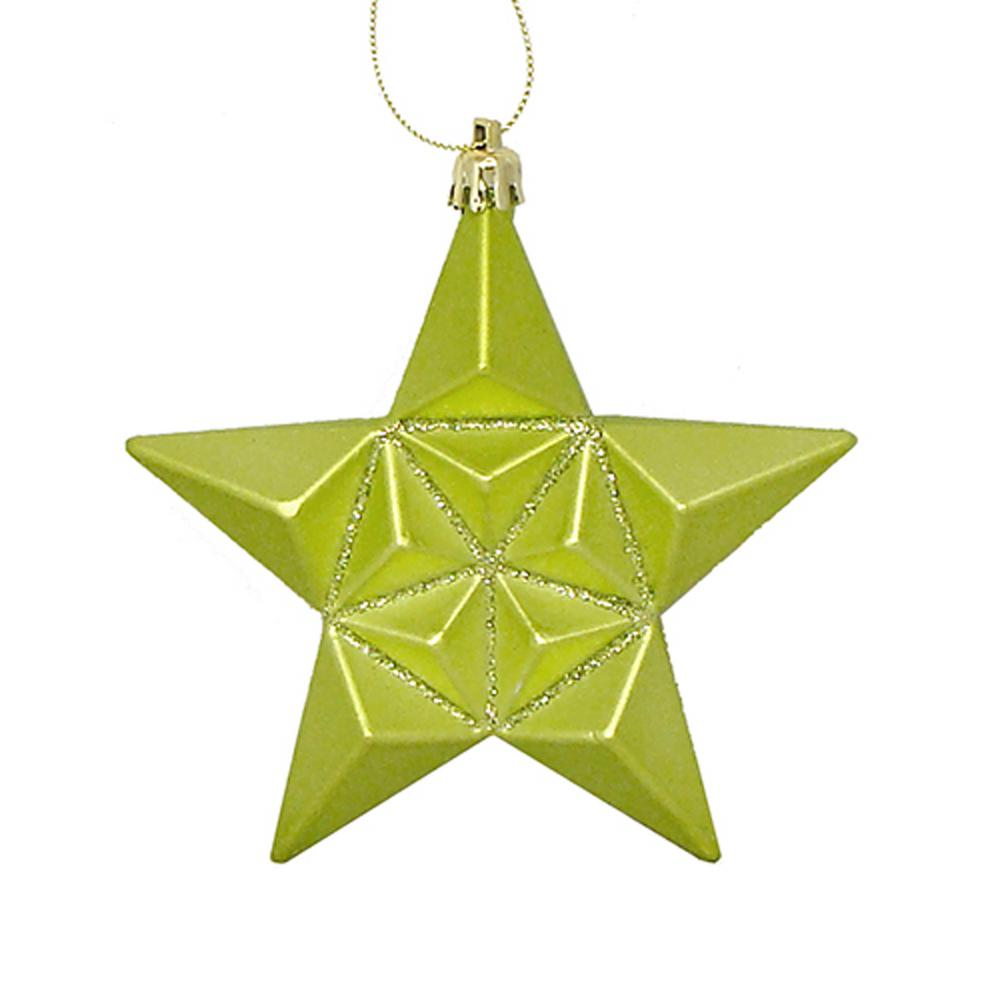 5 in. Matte Green Kiwi Glittered Star Shatterproof Christmas Ornaments
