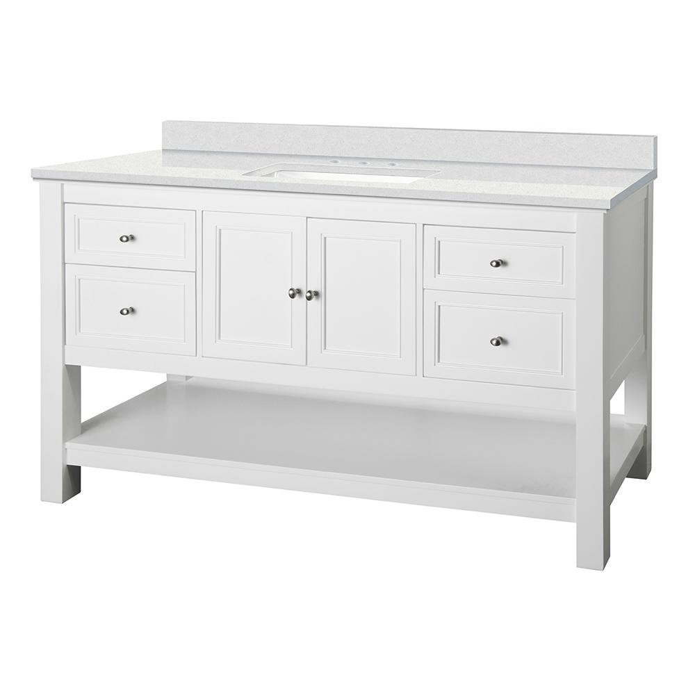 Home Decorators Collection Gazette 61 in. W x 22 in. D Vanity Cabinet in White with Engineered Marble Vanity Top in Snowstorm with White Sink