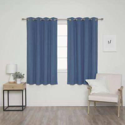 Linen Look 52 in. W x 63 in. L Grommet Curtains in Blue (2-Pack)