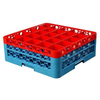 19.75x19.75 in. 25-Compartment 2 Extenders Top Red Glass Rack (for Glass 3.25 in. Dia., 6.34 in. H) in Blue (Case of 3)
