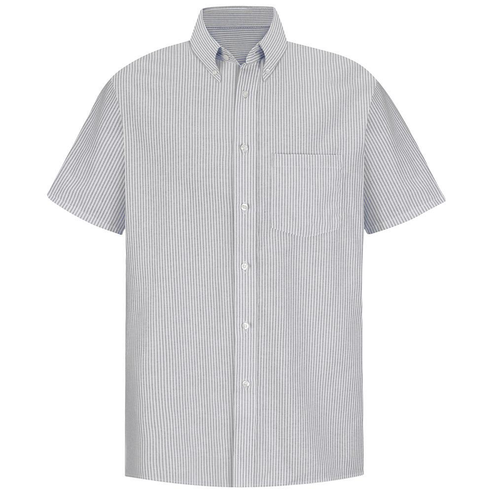 Men's Size 17.5 Grey/White Stripe Executive Oxford Dress Shirt