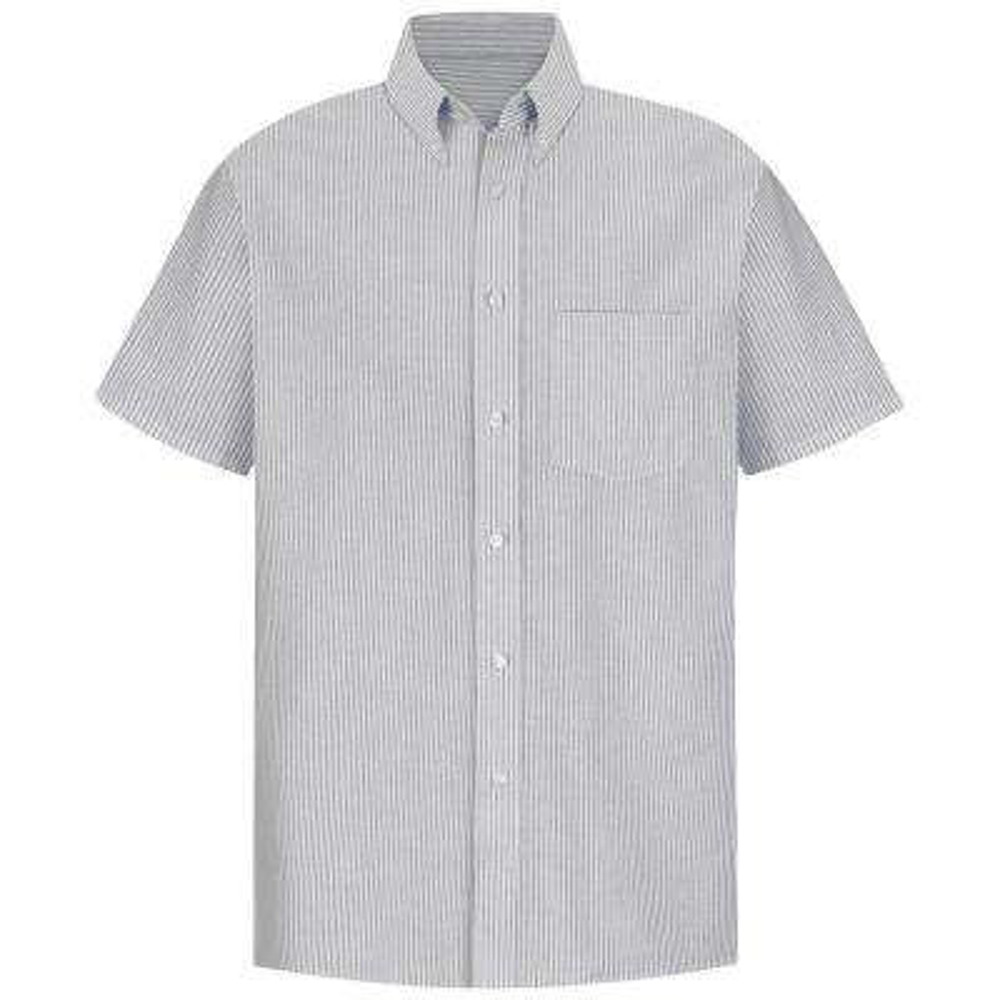 Men's Size 18.5 Grey/White Stripe Executive Oxford Dress Shirt