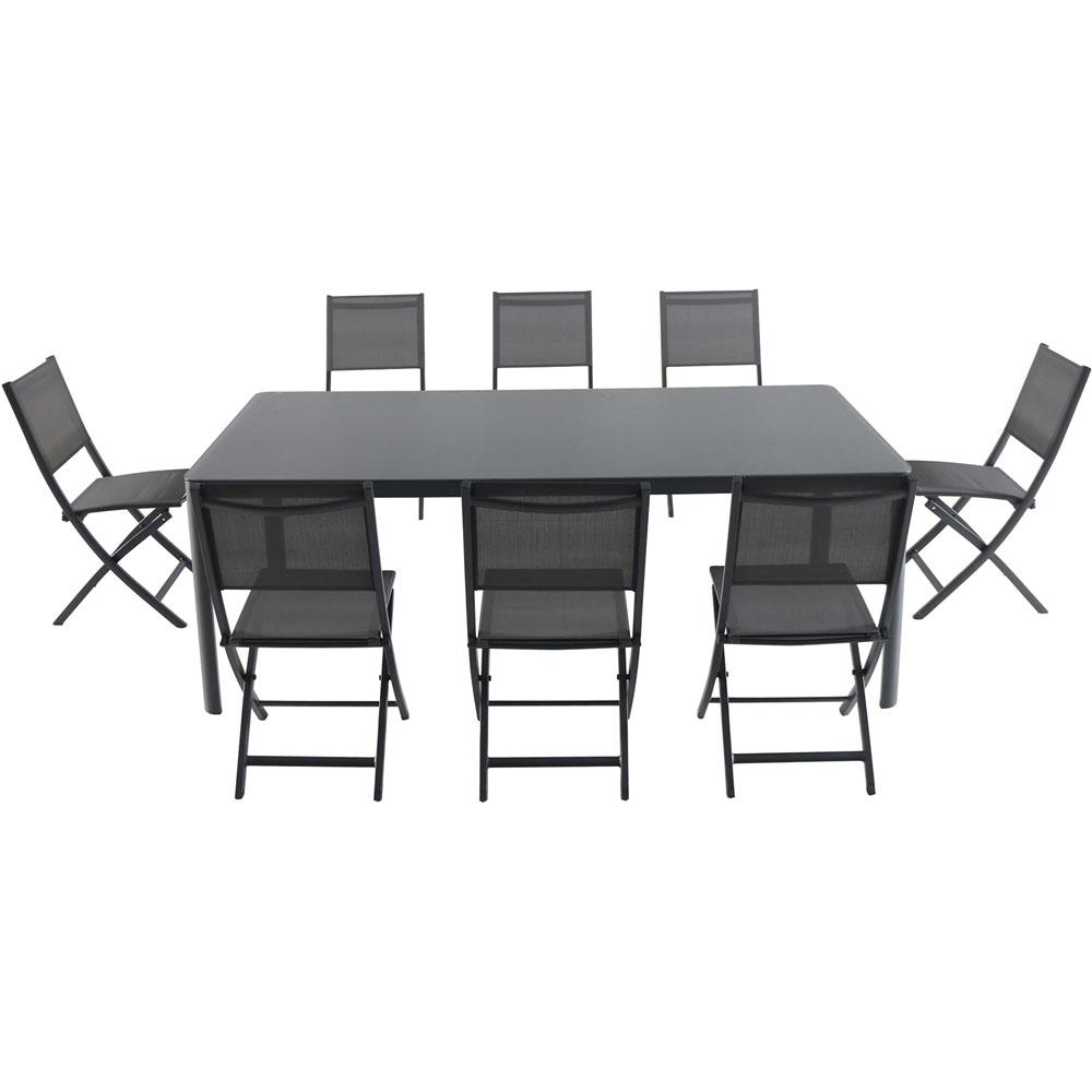 Awesome Cambridge Mesa 9 Piece Aluminum Outdoor Dining Set With 8 Folding Chairs And A 43 In X 82 In Glass Top Table Machost Co Dining Chair Design Ideas Machostcouk