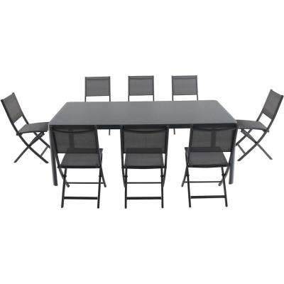 Mesa 9-Piece Aluminum Outdoor Dining Set with 8-Folding Chairs and a 43 in. x 82 in. Glass-Top Table