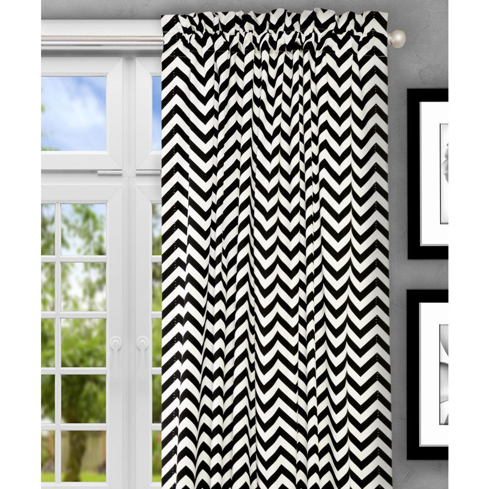 Reston 50 in. W x 63 in. L Cotton Tailored Curtain Panel in Black