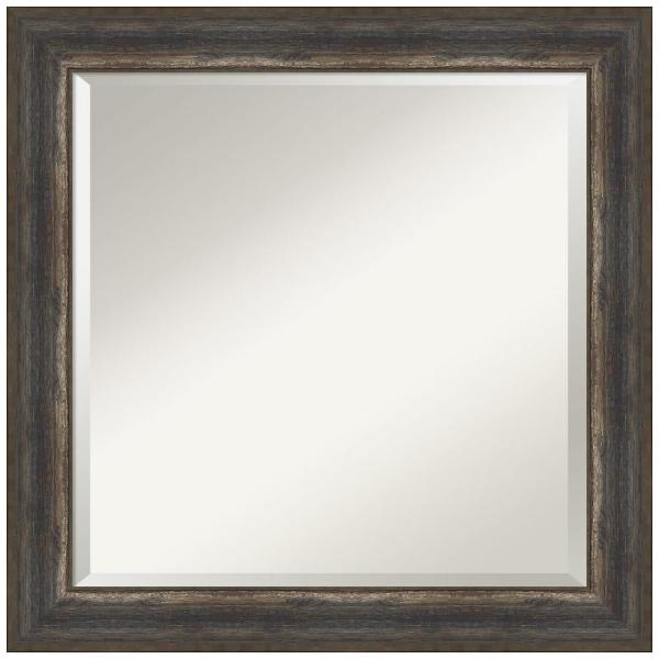 Medium Square Alta Rustic Char Beveled Glass Classic Mirror (24.5 in. H x 24.5 in. W)