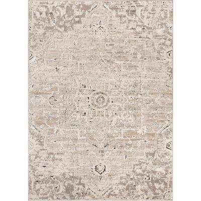 Tikal Thea Ivory Vintage Neutral Oriental Medallion 5 ft. 3 in. x 7 ft. 3 in. Distressed Area Rug