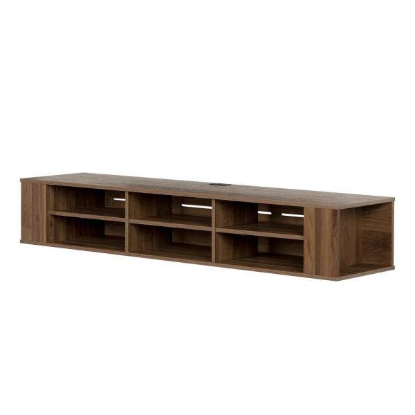 City Life 68 in. Natural Walnut Particle Board TV Stand 75 in. with Cable Management