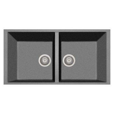 Elegance Undermount Granite Composite 22 in. Double Bowl Kitchen Sink in Titanium