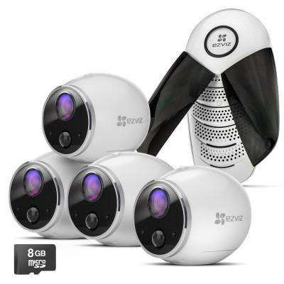 Mini Trooper 720p HD Wireless Surveillance System with 4-Cameras and Base Station and 8GB MicroSD Storage