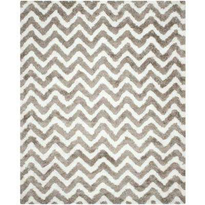 Barcelona Shag Ivory/Silver 8 ft. x 10 ft. Area Rug