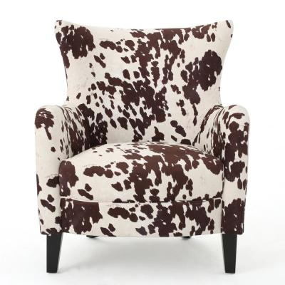 Arabella Milk Cow and Dark Brown Velvet Club Chair