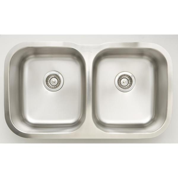 Undermount Stainless Steel 31.25 in. Deck Mount 50/50 Double Bowl Kitchen Sink in Chrome