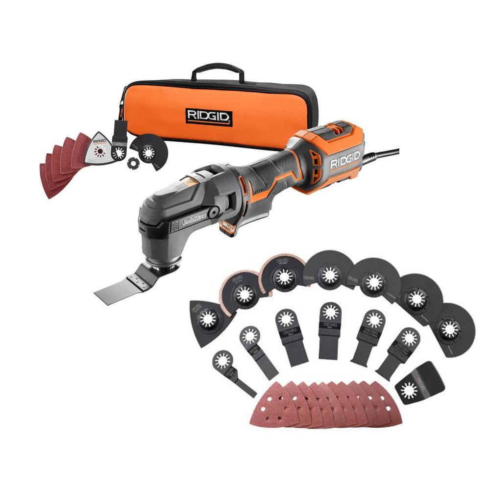 RIDGID 4 Amp Corded JobMax Multi-Tool with Tool-Free Head with JobMax Oscillating Multi-Tool Blade Accessory Kit (14-Piece)