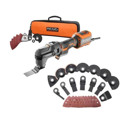 4 Amp Corded JobMax Multi-Tool with Tool-Free Head with JobMax Oscillating Multi-Tool Blade Accessory Kit (14-Piece)