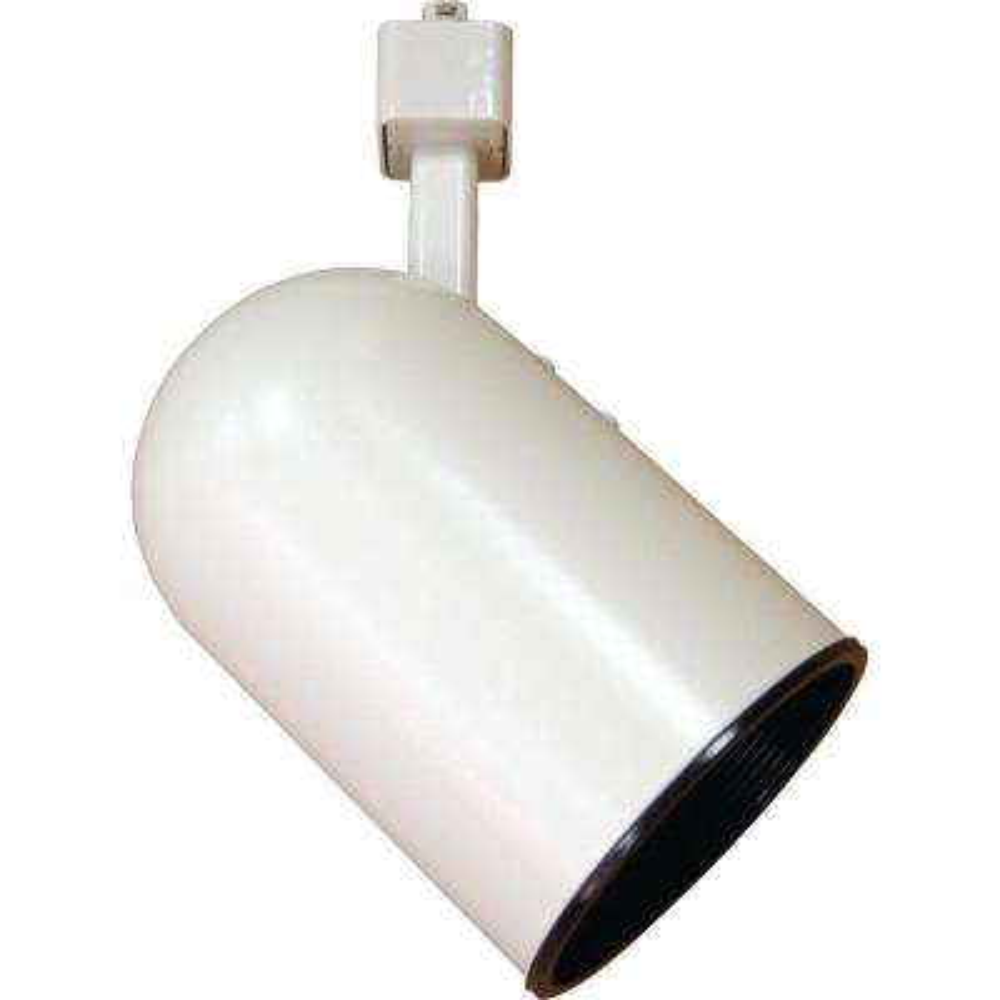 1-Light White Adjustable Small Round Back Cylinder Track Lighting Head