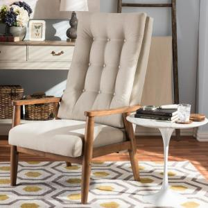 Roxy Beige Fabric Upholstered Accent Chair