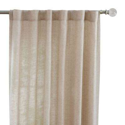 Faux Linen Light Filtering Window Panel in Taupe - 50 in. W x 108 in. L