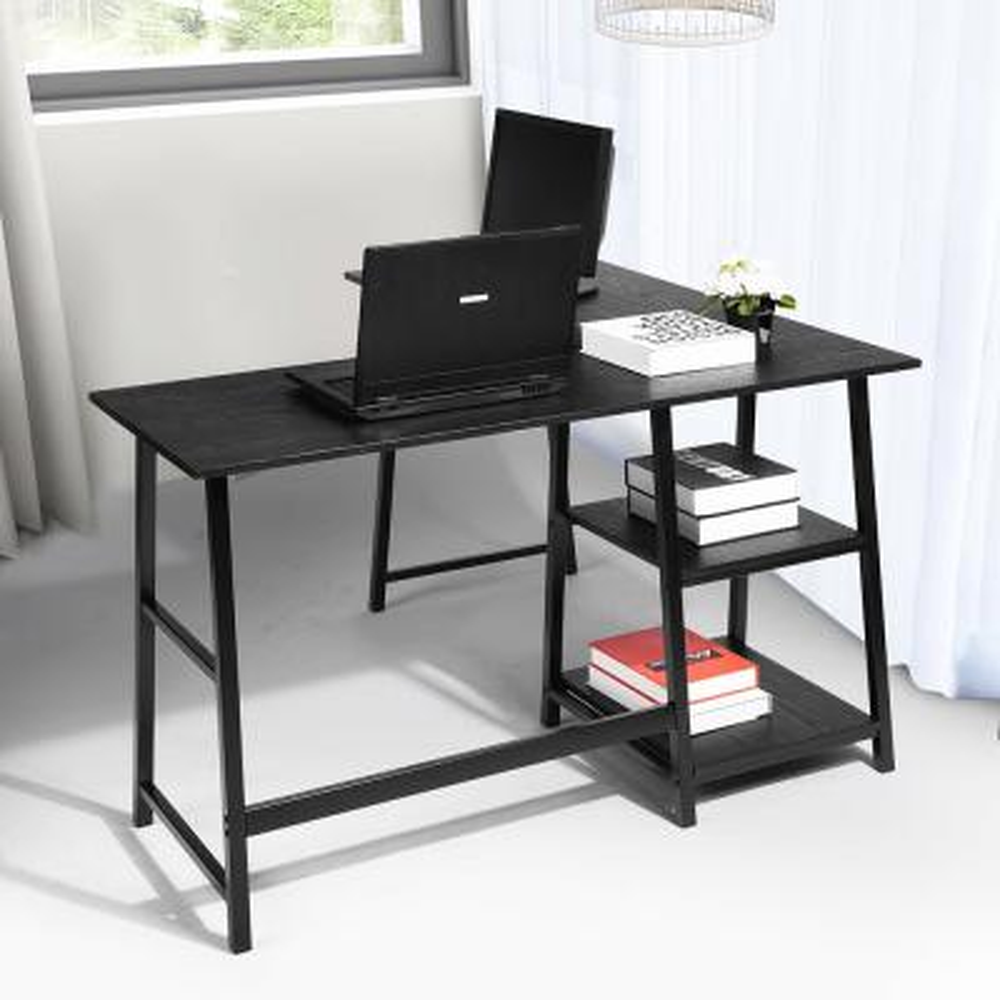 44 in. L-Shaped Black Computer Desk with Shelves