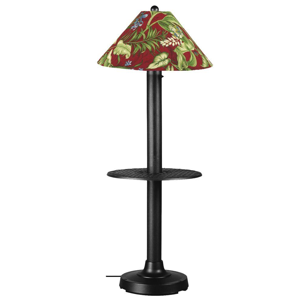 Patio Living Concepts Catalina 63.5 in. Black Outdoor Floor Lamp with Tray Table and Lacquer Shade