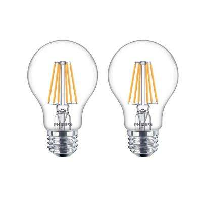 60-Watt Equivalent A19 Dimmable LED Light Bulb Glass with Warm Glow Effect (2-Pack)