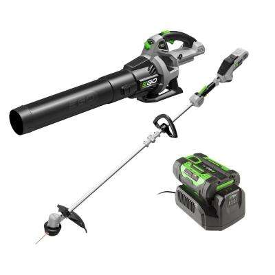 15 in. 56-Volt Lithium-ion Cordless String Trimmer + Bare Tool 530CFM Cordless Blower 2.5Ah Battery and Charger Included