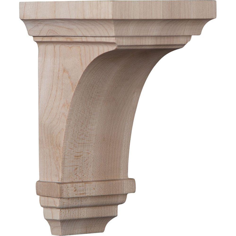 3-1/2 in. x 6 in. x 3-3/4 in. Red Oak Mini Jefferson Wood Corbel