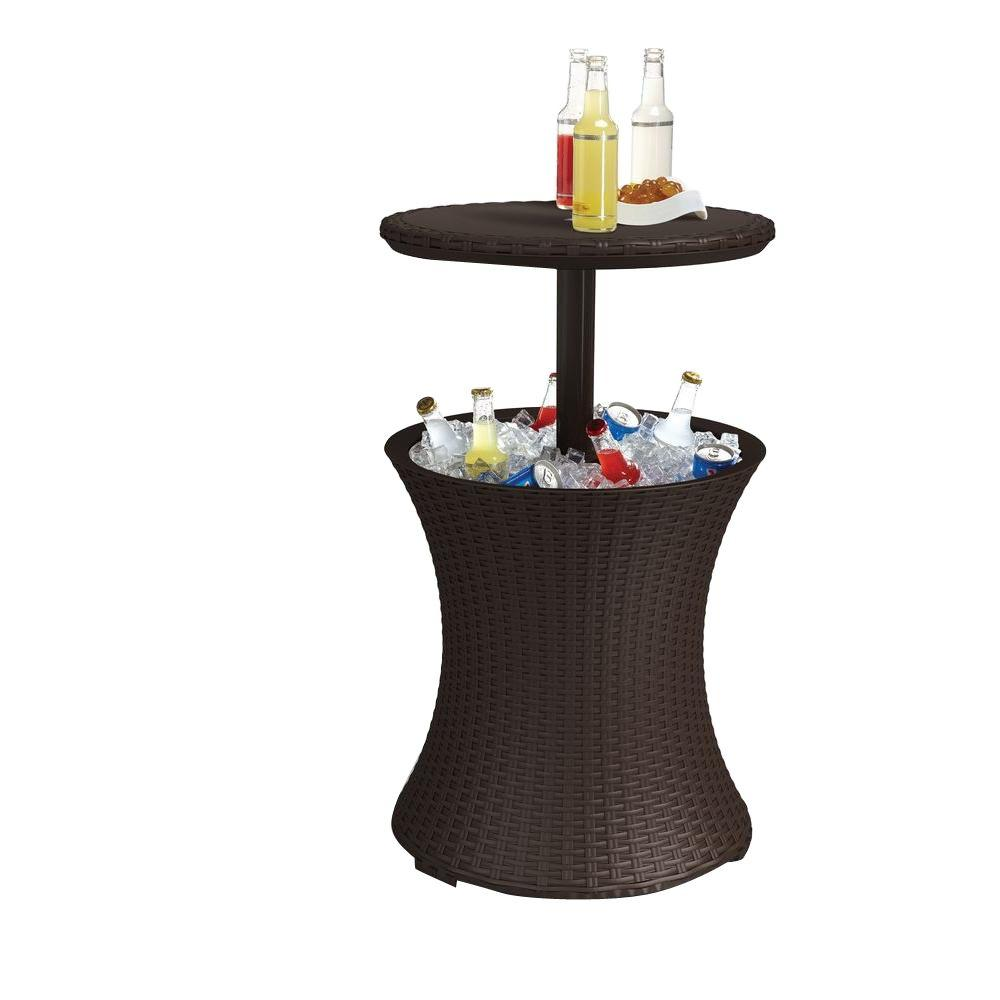 Keter Cool Bar 7 5 Gal Resin Rattan Drink Cooler Patio Table 218305 The Home Depot