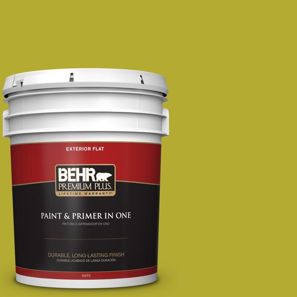 BEHR Premium Plus 5-gal. #P340-6 Green Neon Flat Exterior Paint
